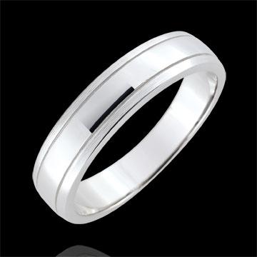 Weddingring men Horizon - brushed white gold - 18 carat