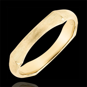 Jungle Sacrée wedding ring - 4 mm - brushed yellow gold 9 carats