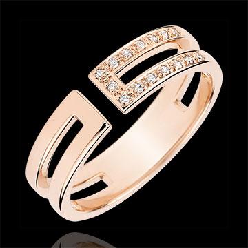 Gloria Ring - 15 diamonds - pink gold 9 carats