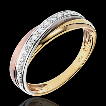 Ring Saturn Diamond - 3 golds - 18 carat