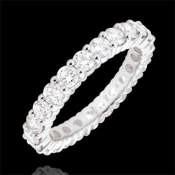 Weddingring white gold paved - prong setting - 2 carats - Complete Round