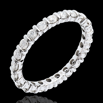 Eternity ring white gold paved-bar channel setting - 1.25 carat - 22 diamonds