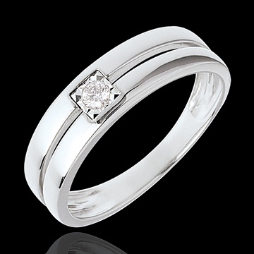 Double band Solitaire ring with brilliant cut diamond