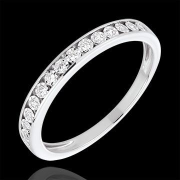 White Gold and Diamond Magic Stone Half Eternity Ring