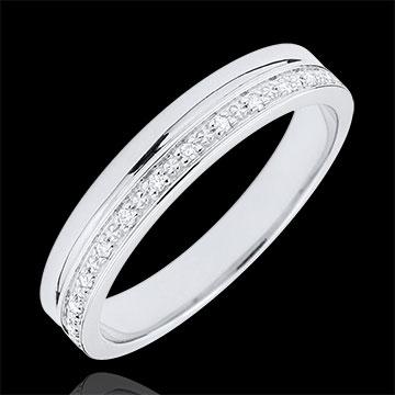 Elegance Wedding ring - White Gold and Diamonds - 18 carats