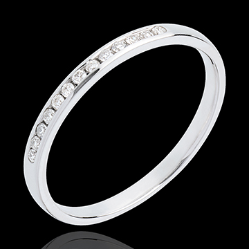 Wedding Ring - White gold half-paved - channel setting - 13 diamonds