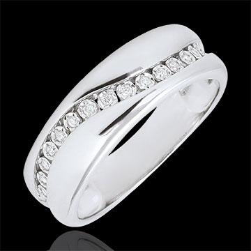 Ring Love - Multi-diamond - white gold - 9 carats