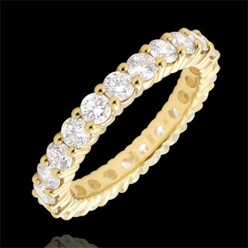 Weddingring yellow gold paved - prong setting - 2 carats - Complete Round