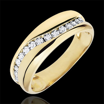 Ring Love - Multi-diamonds - yellow gold - 9 carats