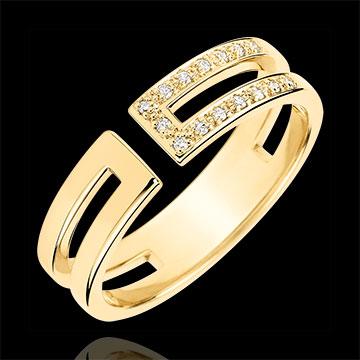 Gloria Ring - 15 diamonds - yellow gold 9 carats