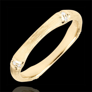 Jungle Sacrée wedding ring - Multi diamond 3 mm - brushed yellow gold 9 carats
