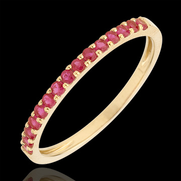 Ring Bird of Paradise - one line - yellow gold and ruby