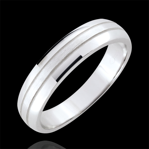 Weddingring men Cronos - brushed white gold - 18 carat