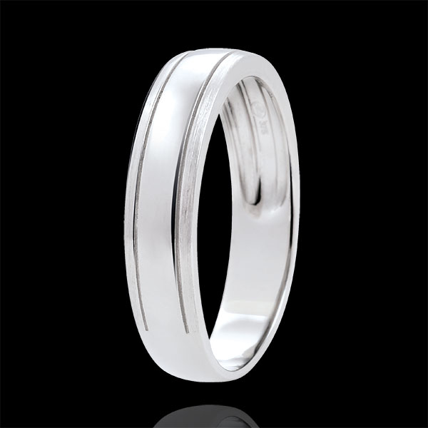 Weddingring men Horizon - brushed white gold