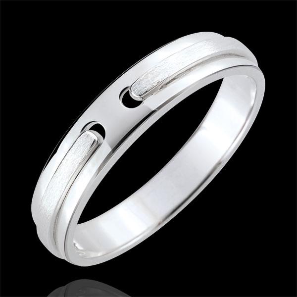Weddingring Promise - all gold - brushed white gold - 18 carat