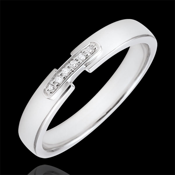 Weddingring uni-precious white gold and diamonds