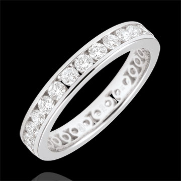 Weddingring white gold paved - rail setting - 1.07 carat - Complete Round
