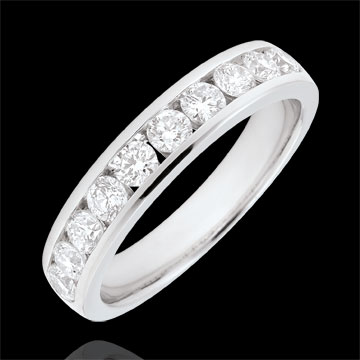 Weddingring white gold semi paved - rail setting - 0.67 carat - 10 diamonds