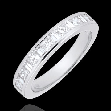 Weddingring white gold semi paved - rail setting - 0.7 carat