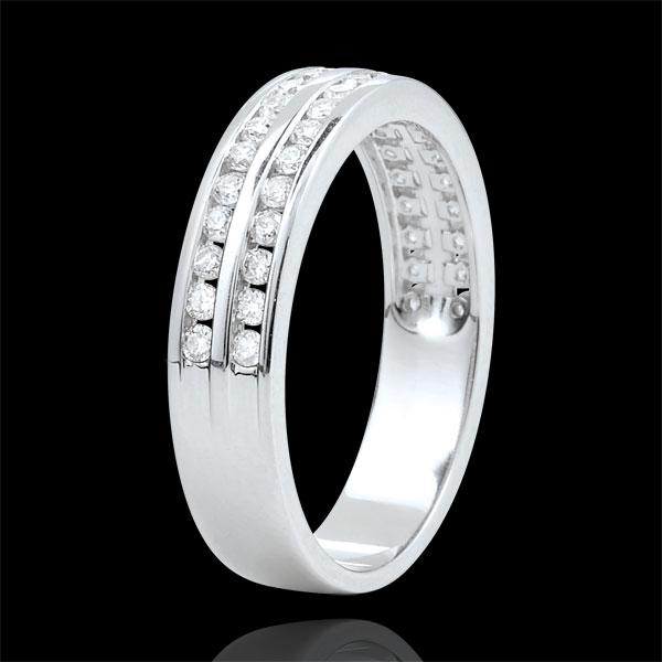 Weddingring white gold semi paved - rail setting 2 rows - 0.32 carat - 32 diamonds - 18 carat