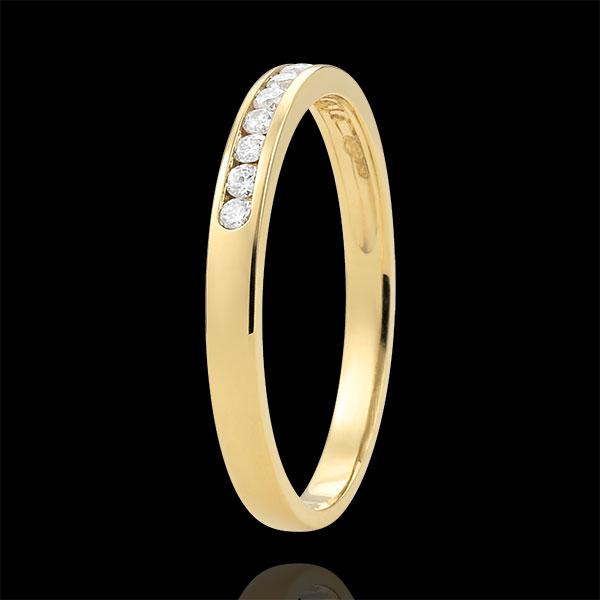 Weddingring yellow gold semi paved - rail setting - 0.15 carat - 11 diamonds