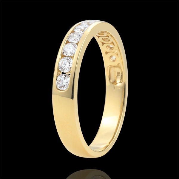 Weddingring yellow gold semi paved - rail setting - 0.5 carat - 11 diamonds