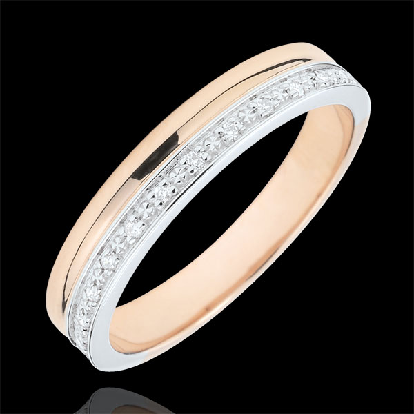 White and Pink gold Elegance wedding ring - 18 carats
