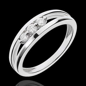 White Gold Abyss Trilogy Ring - 3 Diamonds