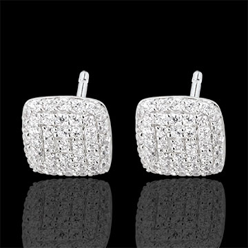 White Gold and Diamond Cushion Earrings