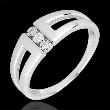White Gold and Diamond Selma Trilogy Ring