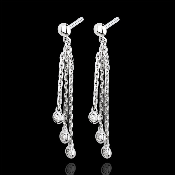White Gold and Diamond Waterfall Drop Earrings