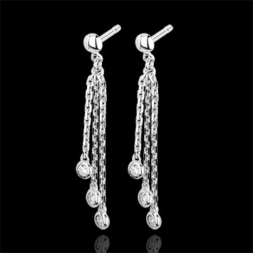 White Gold and Diamond Waterfall Drop Earrings