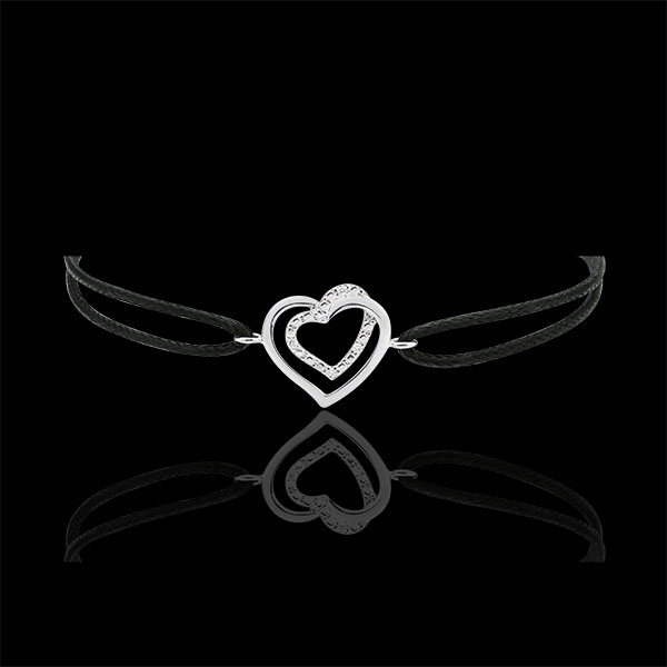 White Gold-Black-Cord-Entwined-Heart-Bracelet