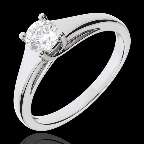 White Gold Diadem Solitaire Ring