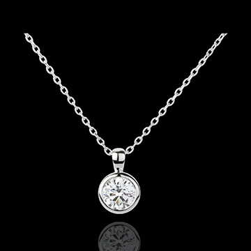 White Gold Doll Solitaire Necklace - 1 diamond : 0.75 carat