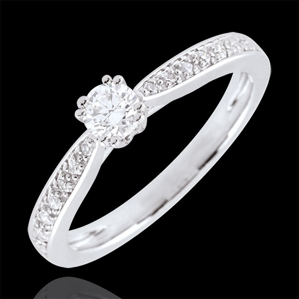 White Gold Garlane Solitaire Engagement Ring with 8 claws - 0.19 carat