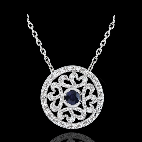 White Gold Kiona Pendant with diamonds and sapphires