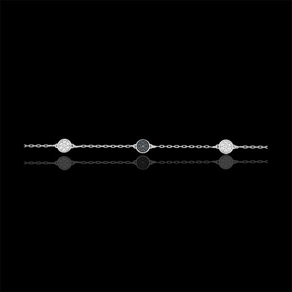 White Gold Myriad of Stars Bracelet with white diamonds and black diamonds