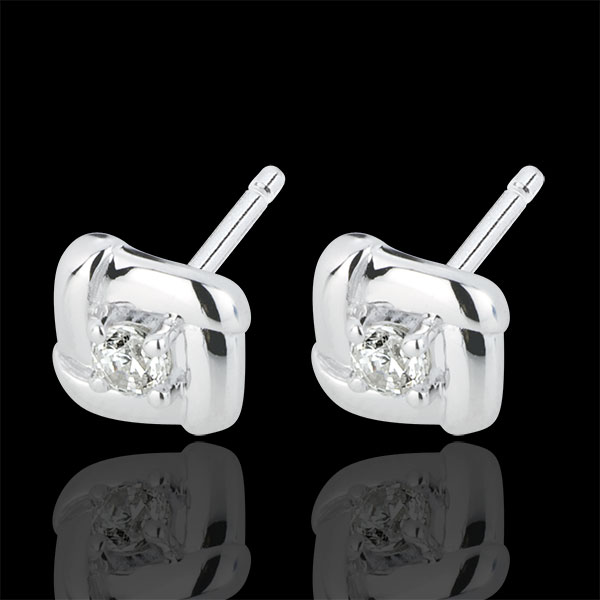 White Gold Nests Stud Earrings