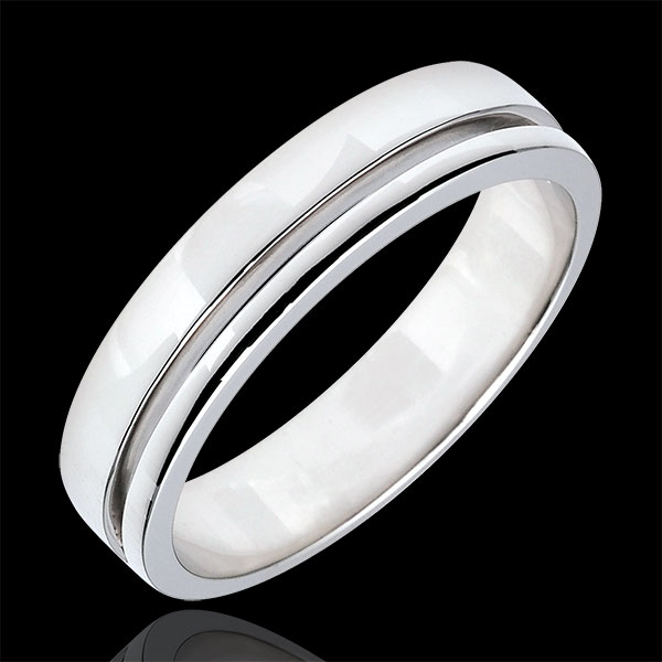 White Gold Olympia Wedding Band - Average Model - 18 carats
