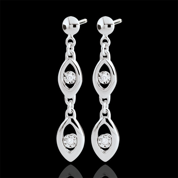 White Gold Peacock Charm Earrings - 18 carats