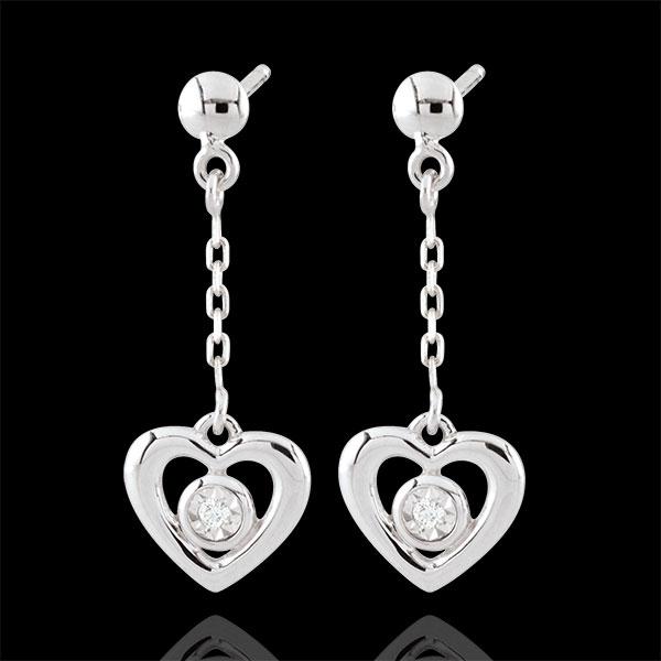 White Gold Pendulum Heart Earrings