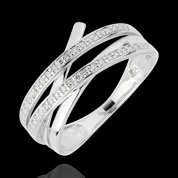 White Gold Vortex Ring - 6 Diamonds