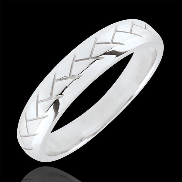 White Gold Weave Wedding Band - 9 carats