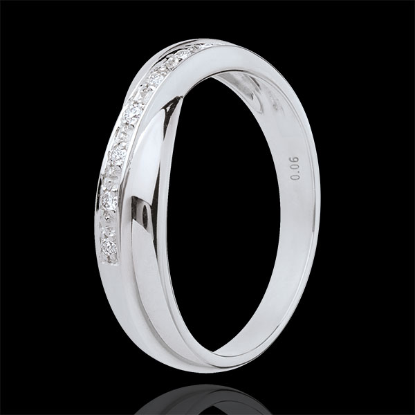 White gold wedding Ring - 7 diamonds - 18 carats