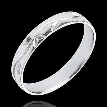 White gold wedding ring Freshness - Ivy engraved - white gold - 18 carat