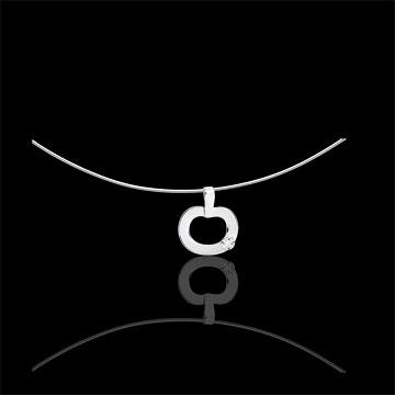 witgouden en diamanten hanger - Diapple mini - 9 karaat goud