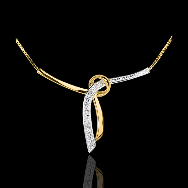 Yellow Gold Adorned Liana Necklace - 3 Diamonds