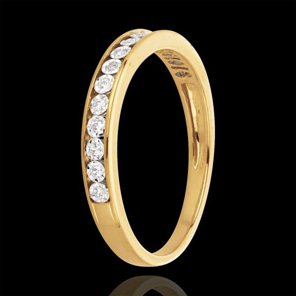 Yellow Gold and Diamond Magic Stone Half Eternity Ring