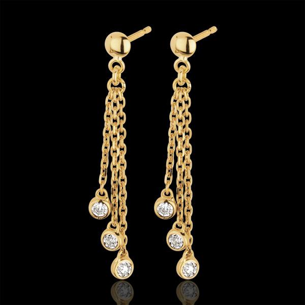 Yellow Gold and Diamond Waterfall Drop Earrings
